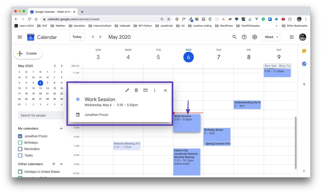 Bringing up the event details by clicking on the event, with an arrow pointing to the event in the main calendar view.