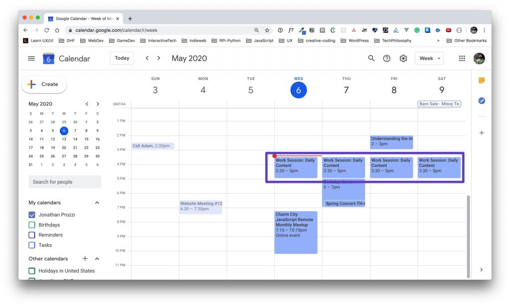 Google Calendar main calendar view with a box drawn around the daily repeating events.