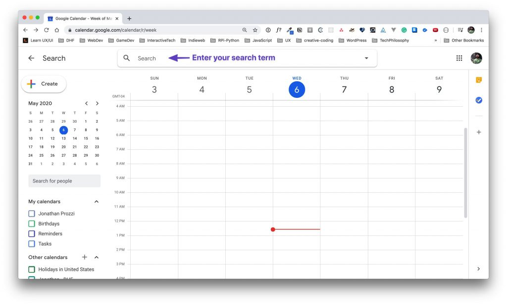Google Calendar view with an arrow pointing to the search term input.