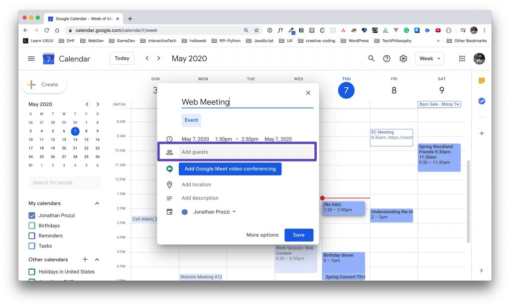 """Google Calendar window for the event options with a box drawn around the """"Add guests"""" input."""