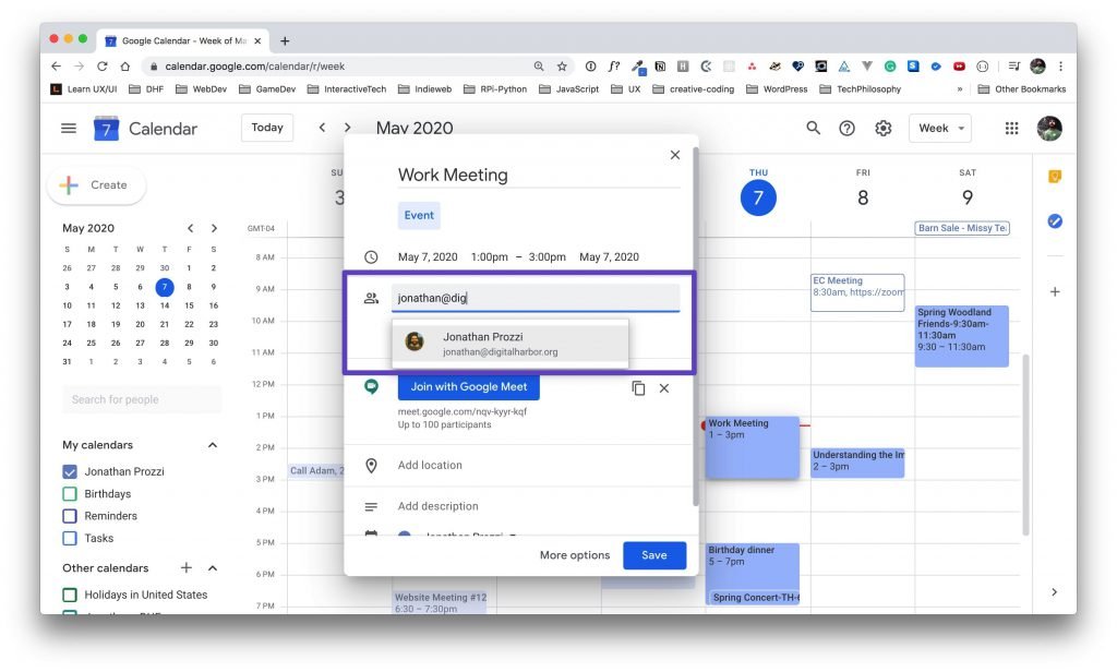 """Google Calendar window for the event options with an email address being entered into the """"Add guests"""" input."""