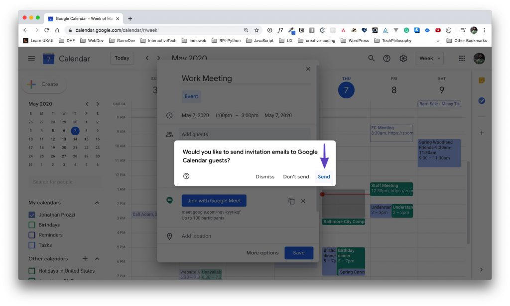 """An arrow pointing to the """"Send"""" button on the invitations email options on a Google Calendar event."""