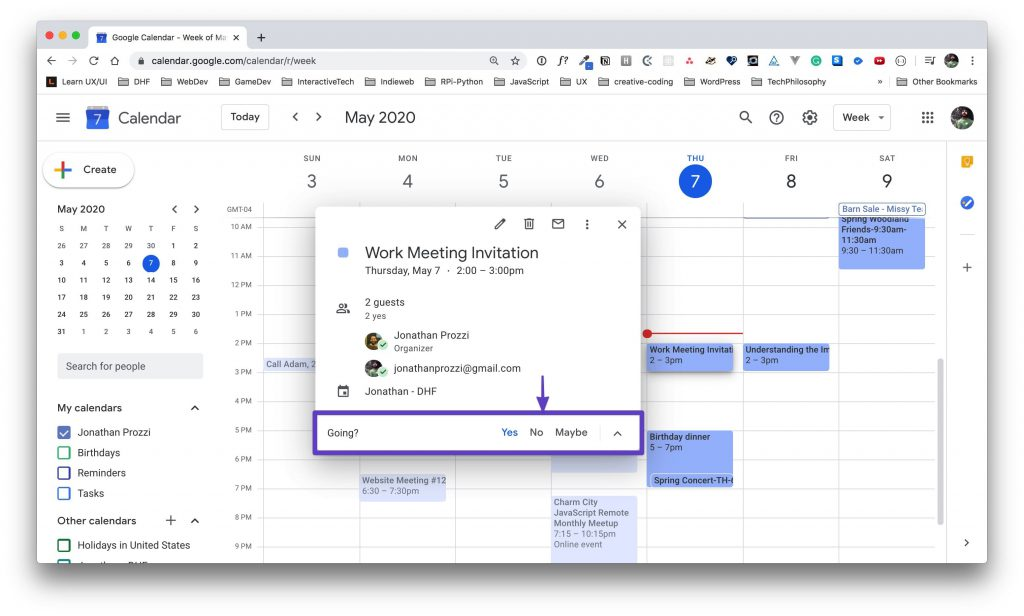 """Google Calendar event details with a box drawn around the RSVP options with """"Yes"""" having been previously selected."""