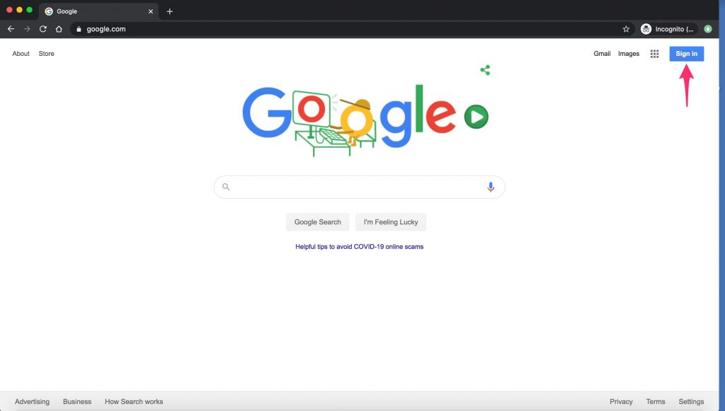 Google Chrome window with arrow pointing to the 'Sign in' button.