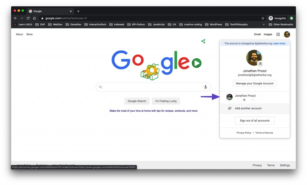 Google Chrome window showing two signed-in accounts.