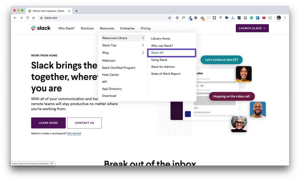 "A box drawn around the ""Slack 101"" menu item in the ""Resources Library"" menu."