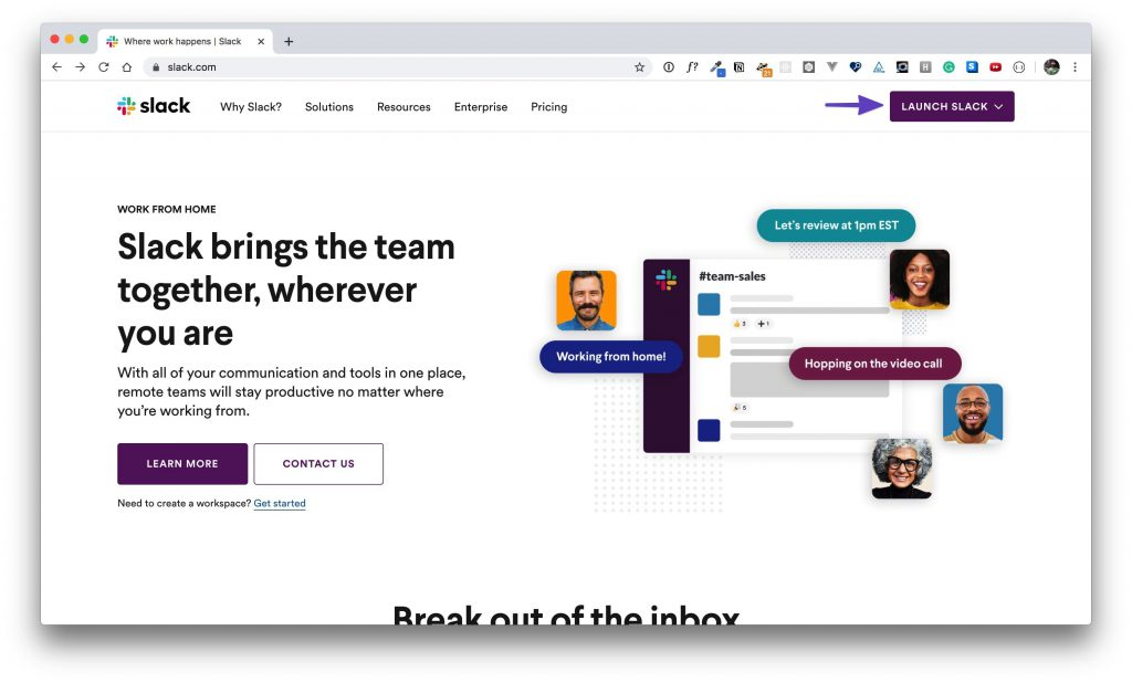 "Slack homepage when signed in and an arrow pointing to the ""Launch Slack"" button."