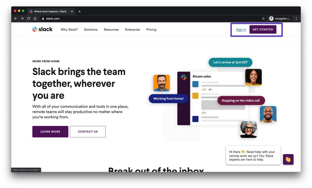 "Slack homepage with a box drawn around the ""Sign in"" and ""Get Started"" buttons."