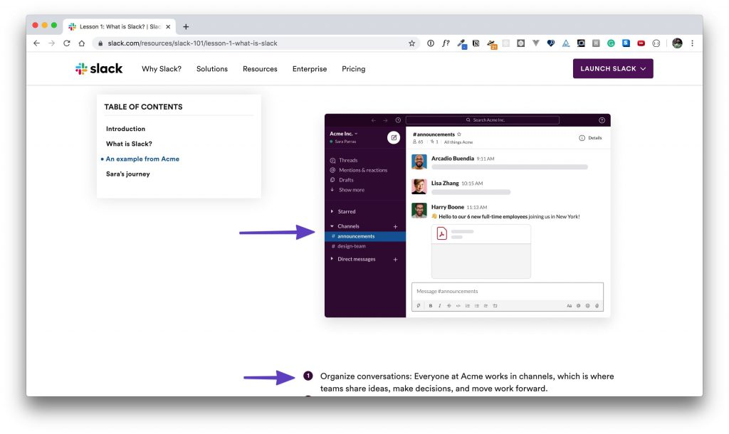 """Arrows pointing to the """"advantages of Slack"""" content."""