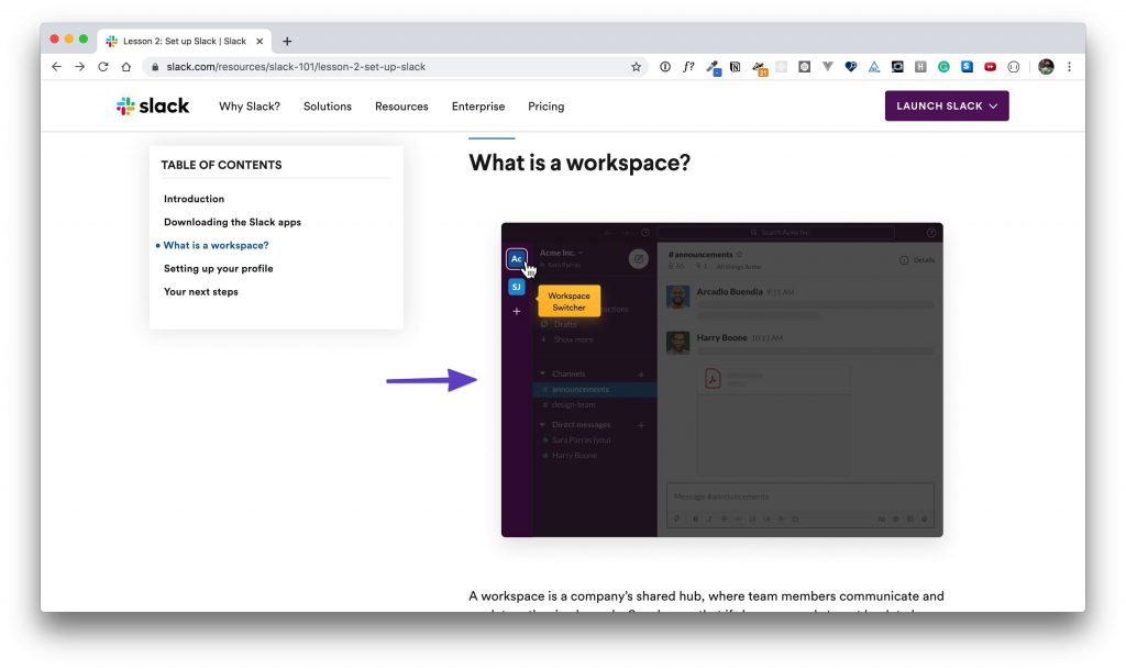 """An arrow pointing to the """"What is a workspace?"""" section in """"Lesson 2."""""""