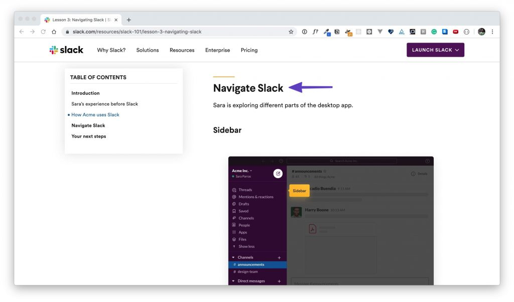 """An arrow pointing to the """"Navigate Slack"""" section in """"Lesson 3."""""""