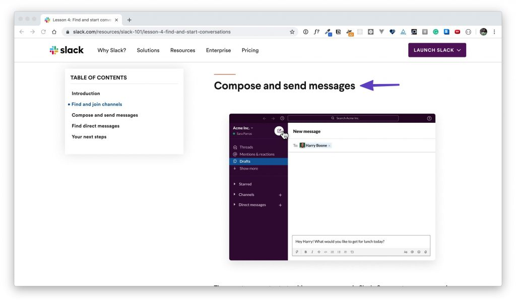 """An arrow pointing to the """"Compose and send messages"""" section in """"Lesson 3."""""""
