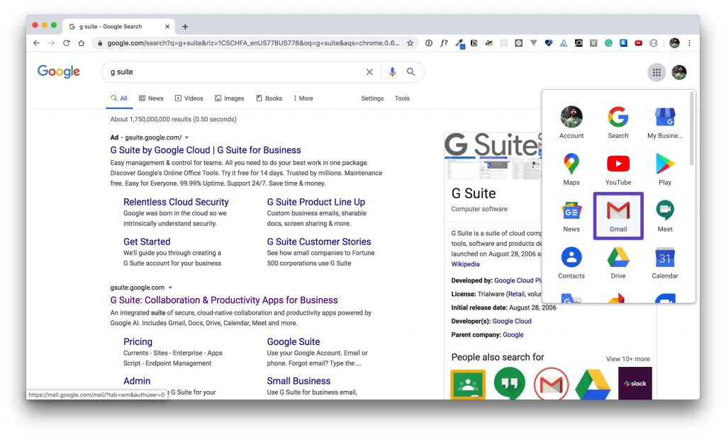 G Suite app window with a box drawn around the Gmail app.