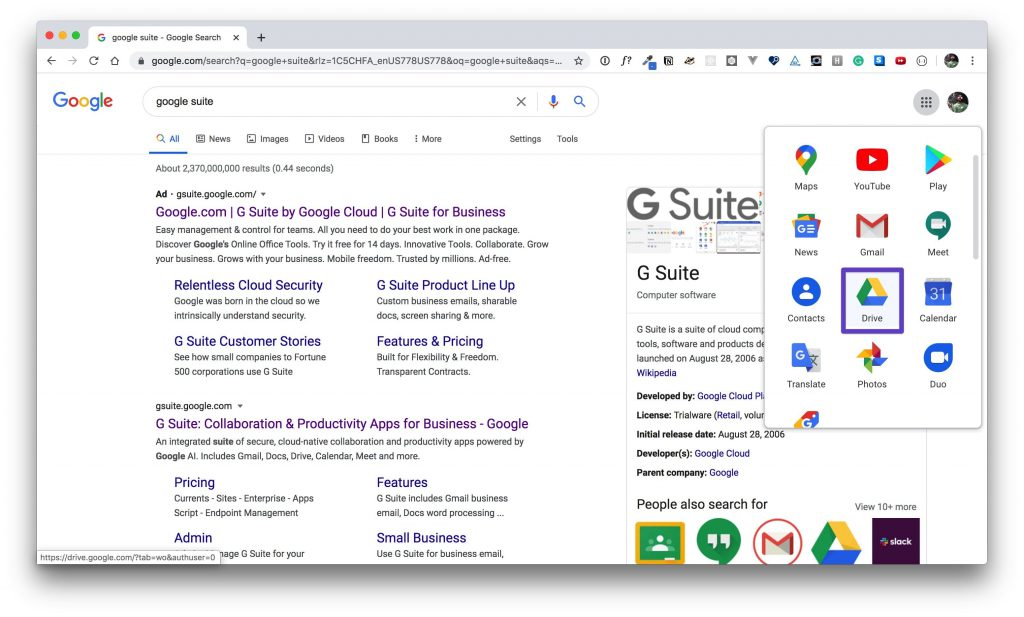 G Suite app window with a box drawn around the Google Drive app.
