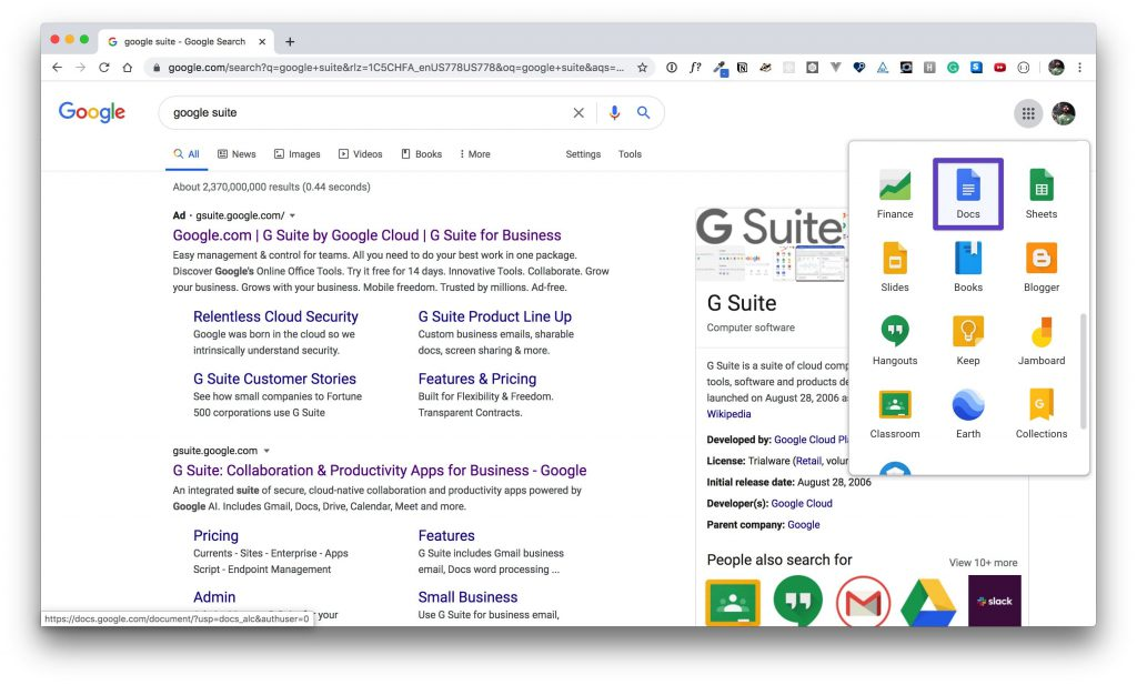 G Suite app window with a box drawn around the Google Docs app.