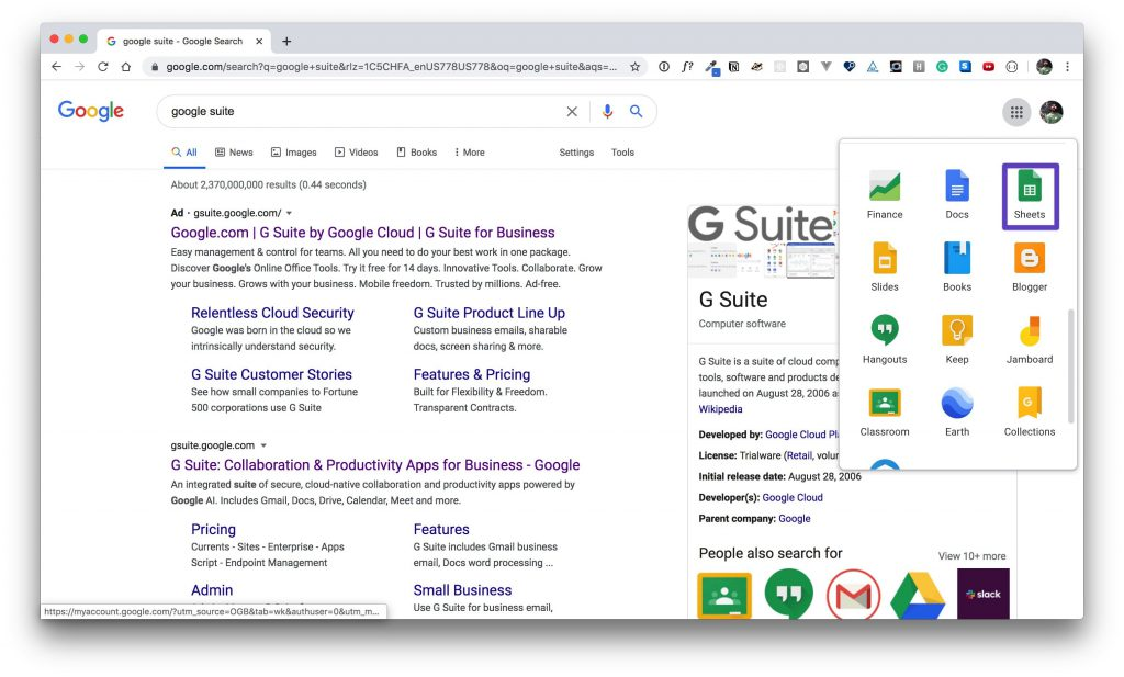 G Suite app window with a box drawn around the Google Sheets app.